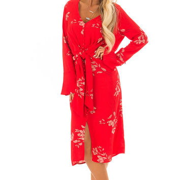 Lipstick Red Floral Button Up Tie Waist Midi Dress