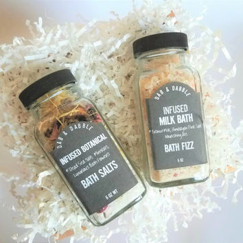 Bath Salts | Floral Bath Salt and Coconut Milk Bath Gift Set | Coworker Gift | Gift For Sister | Mom Gift | Gift For Her