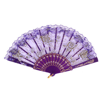 Spanish Style Rose Pattern Dancing Wedding Party Fabric Folding Hand Fan Purple