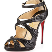 Christian Louboutin Kashou Pleated Crisscross Red Sole Sandal, Black