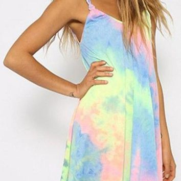 Multicolor Print Rainbow Tie Dye Weave Spaghetti Strap Shift Loose Mini Dress