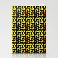 red and yellow polka dot- polka,polka dot,dot,pattern,circle,disc, point,abstract, minimalism Stationery Cards by oldking
