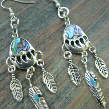 bear claw earrings dreamcatcher turquoise feather earrings abalone bear paws