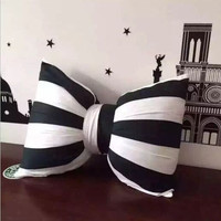 Black and White Stripe Bolster Bowknot Decorative Emoji Pillow