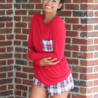 Devon Pajama Set In Red Plaid | Monday Dress Boutique