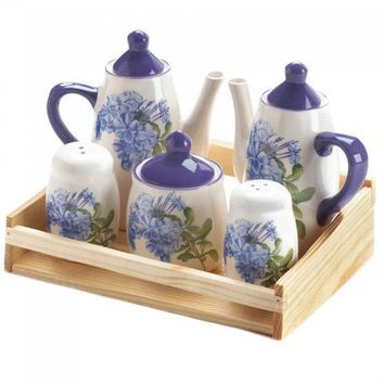Miniature Dolomite Tea Set - Blue Floral