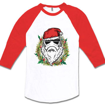 Santa Trooper Christmas Raglan baseball shirt Movie inspired parody Elf T-shirt Christmas Party Funny t-shirt MLG-1295
