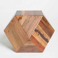 Faceted Woodblock Side Table- Brown One