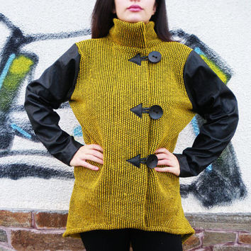 NEW  Winter Collection  / Winter Mustard Cashmere Coat / Wool Yellow Jacket / High Quality Top with Faux Leather Sleeves by moShic C008