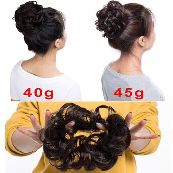 Soft Hair Piece Updo Scrunchies Braided Ponytail Bun Extensions Wavy Brown NCW