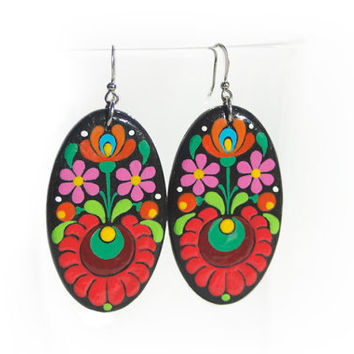 Handpainted Large Oval Earrings with Hungarian Matyó Emroidery Motifs, Wooden Hanging Folk Art Earrings