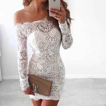Word collar lace clip eyelash long-sleeved dress