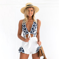 Women's Fashion Summer Embroidery V-neck Backless Romper Jumpsuit [11241397199]