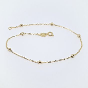 1-0061-h2 Gold Filled Beaded Rolo Link Anklet, 9-3/4""