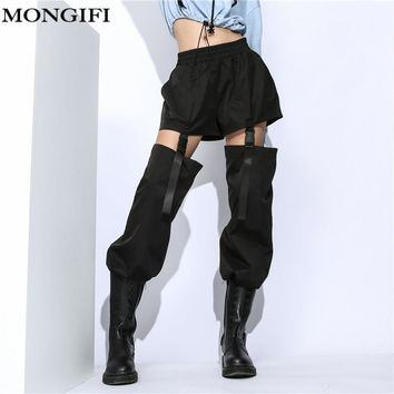 MONGIFI Patchwork Loose Womens Pants Elastic High Waisted Black Summer Baggy Pants Capris Harajuku Streetwear Korean Pants