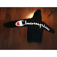 Champion & Supreme New fashion back letter print couple hooded long sleeve sweater top Black