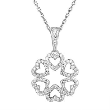 Sterling Silver Leaf Clover Heart Shaped Pendant Chain