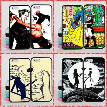Cinderella Joker Peter Pan Jack Skellington BFF Best Friends Couple Case Cover For iPhone 4S 5C 5 5S SE 6 6S 7 Plus