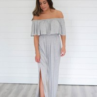 A Night Like This Maxi Dress - Heather Grey