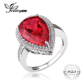 JewelryPalace Luxury Pear Cut 7ct Red Created Ruby Solid 925 Sterling Silver Engagement Ring Fine Jewelry Fashion Ring for Women