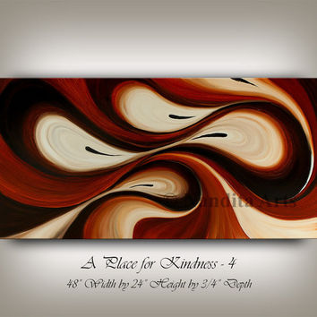 Large Wall Art ABSTRACT PAINTING Acrylic Wall Decor Brown Landscape Abstract Canvas Painting Contemporary Art Home Decor, Wall Hanging