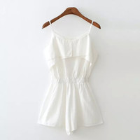 Summer Sexy Simple Design Strapless Cotton Linen Spaghetti Strap Jumpsuit Romper [4933131268]