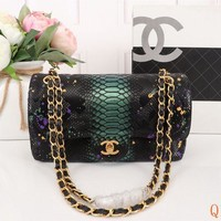 493 Fashion Simple Python Pattern Chain Crossbody Pouch Flap Shoulder Baguette Bag 25-15-7cm