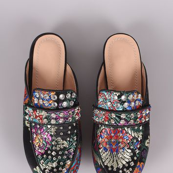Embroidered Floral Studded Mule Flats For Women By Bamboo | Shop Women's Fashion Slip On Flat Sliders Studded Loafers Smart Work Office Shoes Backless Slip On Loafer