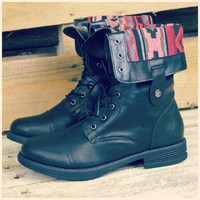 Arrow Lake Black Tribal Fold Over Combat Boots-OUT OF BOX