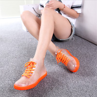 Rain boots, women with short boots, the new 2016 transparent waterproof boots, ms antiskid rubber boots