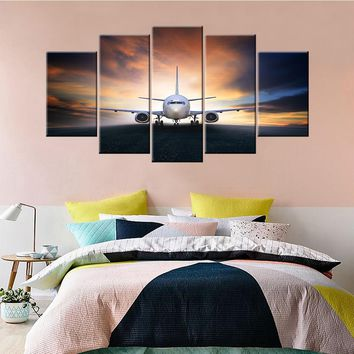 Canvas Painting 5 Piece Aircraft Canvas Art Print Living Room Decoration Pictures Bedroom Wall Art Modern Framework Home Deco