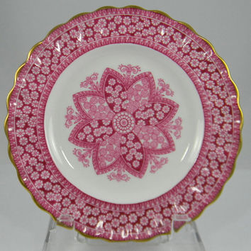 Vintage Spode Copeland Cranberry Pink Red Transferware Shabby Chic Gilt Trim Side Plate Snowflake Plate Kaleidoscope Lace Rose Christmas Dish