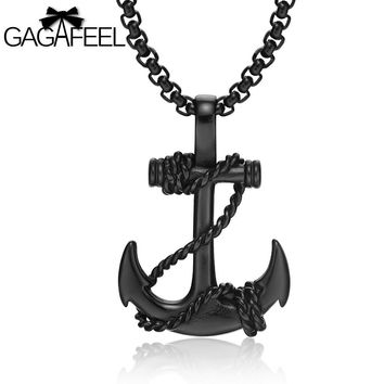 GAGAFFEL Cross Pendant Anchor Necklace Vintage Jewelry For Men Black Gold Silver Plated 316L Stainless Steel Gift For Christmas