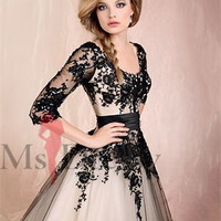 Ballgown Scoop Floor-length Satin Multi Colours Dress With Applique at Msdressy