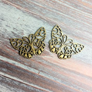 AB-0710 - Antique Brass Open Butterfly Pendant/Connector, 28x38mm | Pkg 2
