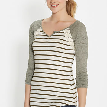 striped baseball tee with lace