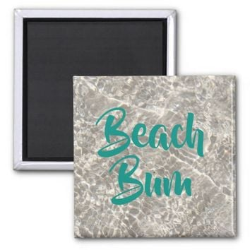 Sparkeling water on sand beach bum magnet