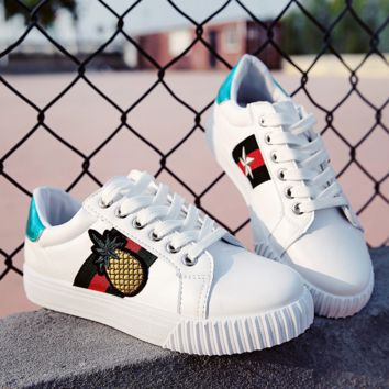 White Pineapple Lace up Canvas Casual Shoes