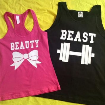 Disney Beauty & The Beast Couples Tank Tops V2 Pink and Black (color)