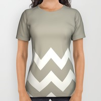 Chevron Colorblock Alabaster Blue Gray All Over Print Shirt by Beautiful Homes