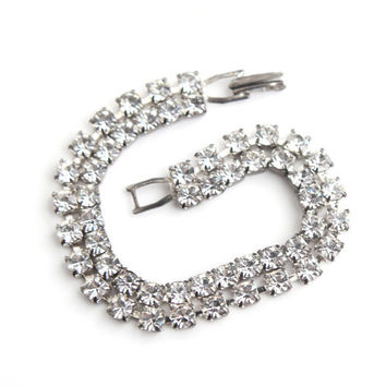 Vintage Clear Glass Rhinestone Bracelet -  Silver Tone Bridal Hollywood Regency Costume Jewelry / Faux Diamond Double