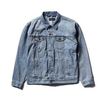 2017fall veste stage wear mens jean jackets and coats clothing motorcycle star perform Justin Bieber denim blue white jacket men