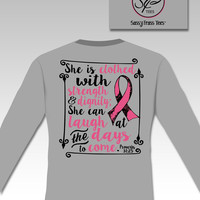 Sassy Frass Breast Cancer Awareness Pink RibbonProverbs Christian Long Sleeve Bright Girlie T Shirt