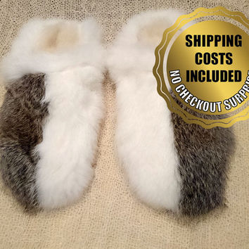 Men Rabbit Fur Slippers - 100% Naturel Genuine