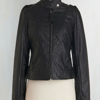 Urban Short Length Long Sleeve What Motors Most Jacket in Noir