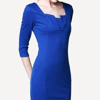 Blue Midi Pencil Dress