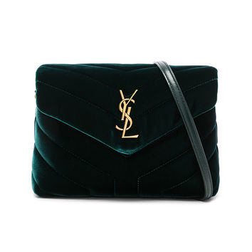 Saint Laurent Toy Velvet Monogramme Loulou Strap Bag in Dark Green | FWRD