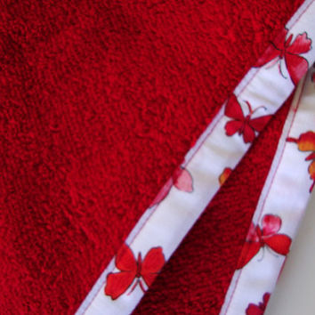 RED Hair Towel with Butterfly Fabric Trim - Head Towel - Turban Towel - Head Wrap - Hair Wrap - 100% Cotton Towel - Butterflies