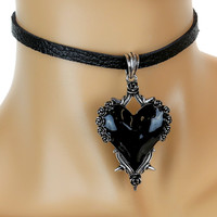 Black Heart Gothic Roses Vine Leather Choker Necklace Jewelry