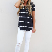 Seeing Double Tie Dye Top {Black}